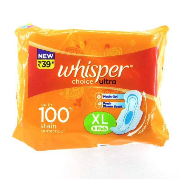 Whisper Choice Sanitary Napkins - Ultra XL, 6 pcs