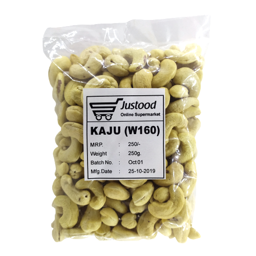 Justood Whole Kaju, Cashew (Size- W160)